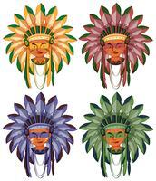 Quatro cabeças de índios nativos americanos vetor