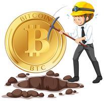 Uma moeda de Cyber de mineração de trabalhador