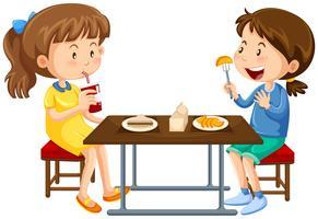 Duas meninas, comer, ligado, tabela piquenique vetor