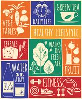 Conjunto de ícones de estilo de vida saudável vetor