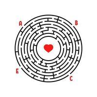 labirinto redondo abstrato. jogo para crianças. quebra-cabeça para crianças. encontre o caminho certo. enigma do labirinto. ilustração em vetor plana isolada no fundo branco. com lugar para sua imagem.