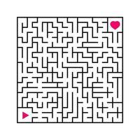 labirinto quadrado abstrato. um jogo interessante e útil para crianças. encontre o caminho da flecha ao coração. ilustração em vetor plana simples isolada no fundo branco.