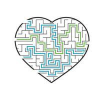 coração do labirinto. jogo para crianças e adultos. encontre o caminho certo. quebra-cabeça para crianças. enigma do labirinto. ilustração em vetor plana isolada no fundo branco. com as respostas.