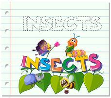Palavra de rastreamento para insetos vetor
