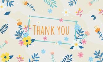 cartão de agradecimento ou cartão postal floral com fundo vetor