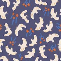 padrão de repetição perfeita de ilustração de flor de gaivota vetor
