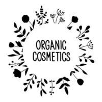 modelo redondo com plantas para texto. letras de cosméticos orgânicos vetor