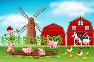 Cena de fazenda com animais vetor
