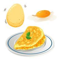 Uma omelete no fundo branco vetor