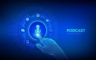 podcast. conceito de podcasting na tela virtual. vetor