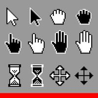 conjunto de ícones de cursor de computador de pixel de vetor. vetor