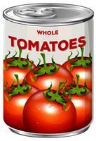 Lata de tomates inteiros vetor