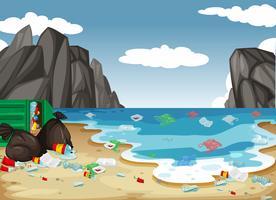 Um, sujo, praia, poluição, fundo