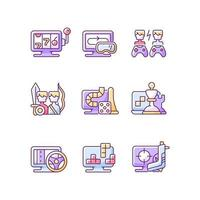 conjunto de ícones de cores rgb de jogabilidade online vetor