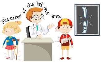 Crianças, tendo, fraturas, perna, braço vetor