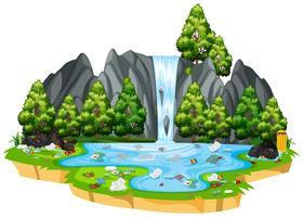 Poluição na natureza isolada paisagem vetor