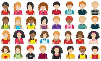 Grupo de pessoas sem rostos vetor