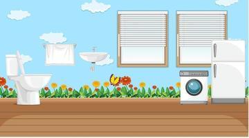 cena com máquina de lavar e geladeira no banheiro vetor