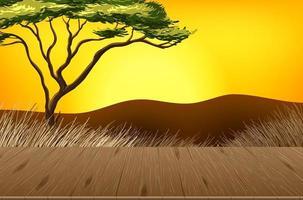 paisagem de floresta de savana vazia com fundo desfocado vetor