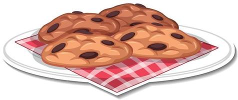 Adesivo de biscoitos de chocolate em prato fundo branco vetor