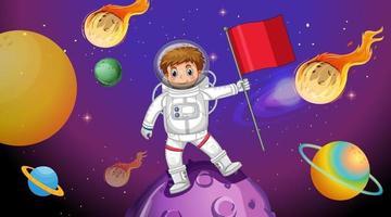 garoto astronauta parado em um asteróide na cena do espaço vetor