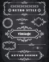 Conjunto de quadros Vintage retrô e bordas. Fundo de quadro de giz vetor