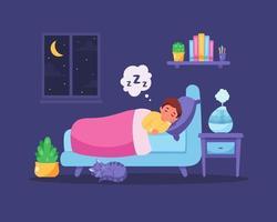 menino dormindo no quarto com umidificador de ar. sono saudável vetor