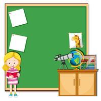 Menina, leitura, em, um, sala aula vetor