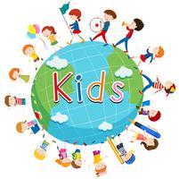 Crianças fazendo coisas ao redor do mundo vetor