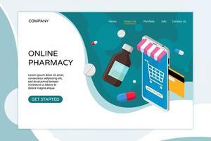modelo de página de destino de farmácia on-line. comprar medicamentos e drogas vetor