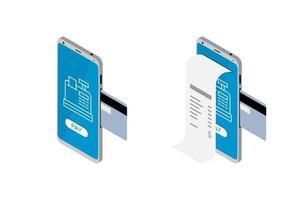 projeto de lei eletrônico e conjunto de conceito de banco móvel. celular 3d isométrico vetor