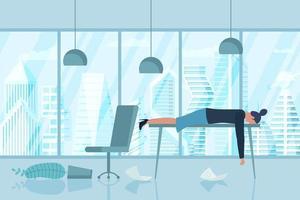 síndrome de burnout profissional. exausta, doente, mulher cansada vetor
