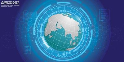 círculos abstratos de tecnologia e fundo de vetor de mapa mundial.