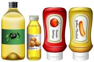 Diferentes tipos de molhos e azeite vetor