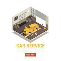 ilustração em vetor composição isométrica de serviço de carro