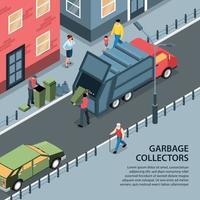 ilustração vetorial de fundo de coletores de lixo de rua vetor