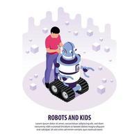 crianças com ilustração vetorial de fundo de robôs vetor