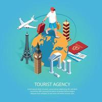 ilustração vetorial isométrica de fundo de agência de turismo vetor