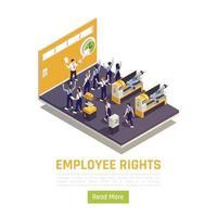 ilustração em vetor composição isométrica proteção dos direitos dos funcionários