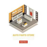 ilustração vetorial isométrica de loja de peças automotivas vetor