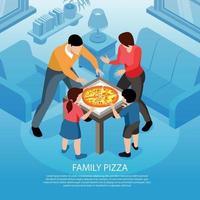 ilustração vetorial de fundo isométrico de pizza em família vetor