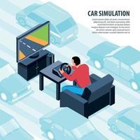ilustração em vetor fundo videogame simulador de carro