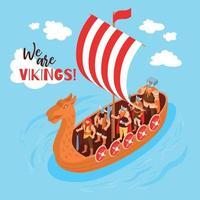 ilustração vetorial de composição de vela isométrica vikings vetor