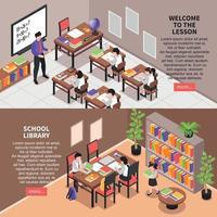 banners horizontais escolares definir ilustração vetorial vetor