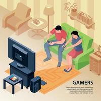 ilustração em vetor fundo isométrico família gamers
