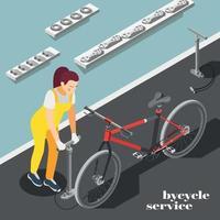 ilustração vetorial de fundo isométrico de serviço de bicicleta vetor