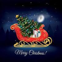 ilustração em vetor composição realista trenó de Papai Noel