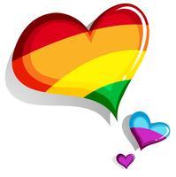 Design de coração colorido em branco vetor