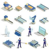 ilustração em vetor conjunto isométrico de produção de vidro
