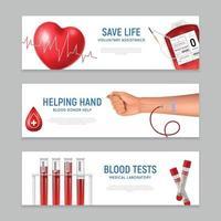 ilustração vetorial de banners horizontais de doador de sangue vetor